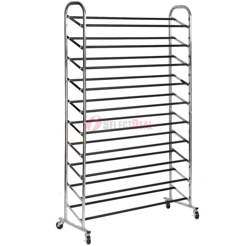 50 Pairs 10 Level Stainless Steel Shoe Rack with Locking Wheel  sc 1 st  Iselectdeal.com & 50 Pairs 10 Level Stainless Steel Shoe Rack with Locking Wheel ...
