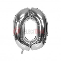 """16"""" Silver Foil Balloon Number [0]"""