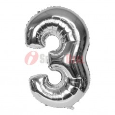 """16"""" Silver Foil Balloon Number [3]"""