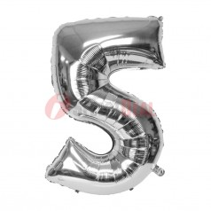"""16"""" Silver Foil Balloon Number [5]"""