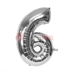 """16"""" Silver Foil Balloon Number [6]"""