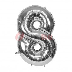 """16"""" Silver Foil Balloon Number [8]"""
