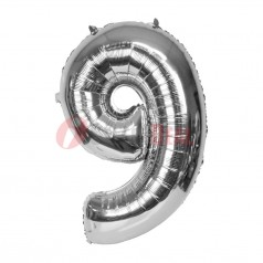 """16"""" Silver Foil Balloon Number [9]"""